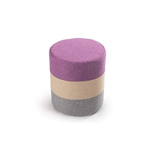 YLCJ kruk Dongy, bont, retro design, stof, kruk, rond, zitbank, dressing, kruk, voetensteun (kleur: blauw) Roze