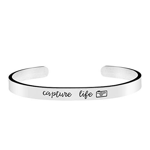 Capture Life Photographer Gift Photo Grad Jewelry Camera Jewelry Mantra Cuff Bangle Bracelet
