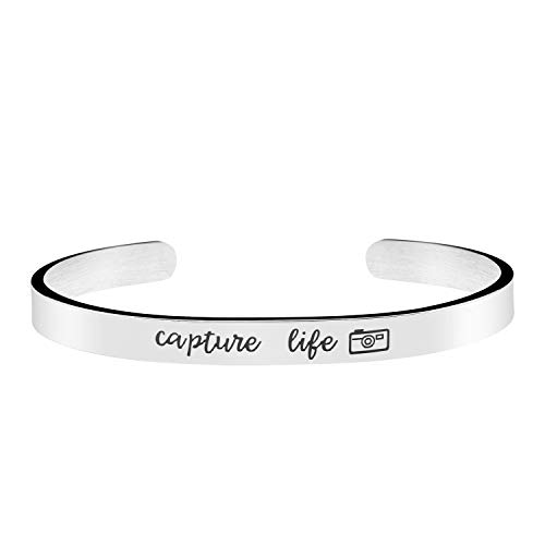 Joycuff Capture Life Photographer Gift Photo Grad Jewelry Camera Jewelry Mantra Cuff Bangle Bracelet