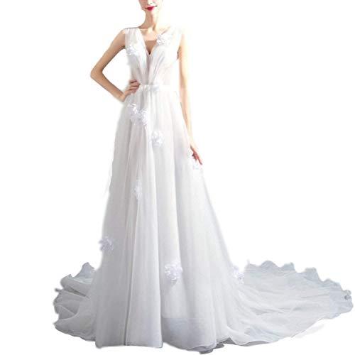 FTFTO Wohnaccessoires Damen V-Ausschnitt Gaze Transparent Elegant Bankett Ballkleid für Braut fz Weiß Groß