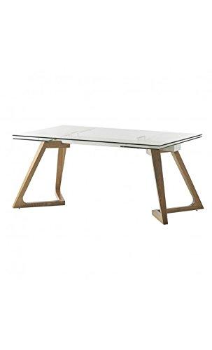 CAMINO A CASA - Table à rallonges Verre et Bois GATE 160-240 cm