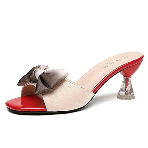 ypyrhh Zapatillas suaves con punta abierta de EVA, tacón de cristal con palabras dulces arrastrar, zapatillas de arco frío-cremoso-blanco_40, sandalias de tacón de bloque de correa en los zapatos