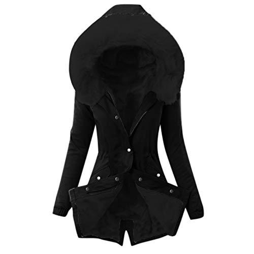 TWIOIOVE Veste zippée 3 en 1 pour femme - Veste d'hiver zippée - Veste softshell - Protection contre le froid - Veste fonctionnelle - Veste demi-saison épaisse, Noir , XXXL