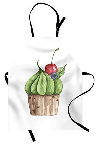 ABAKUHAUS Petit gâteau Tablier, Savoureux Cerise Alimentaire Graphique, Produit Unisexe avec Col Réglable pour Cuisine et Jardinage, Multicolor Blanc