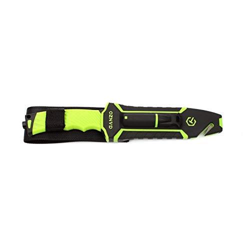 Ganzo Messer G8012 Outdoormesser, 8CR13-Stahl, Drop Point, Gurtschneider, Feuerstein, Bushcraft, Farbe:grün