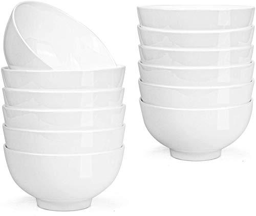 Lawei 12 Stück Porzellanschalen Keramik Müslischalen Salatschüsseln Rund Dessertschalen Porzellan Schäle Set - 300ml, Weiß