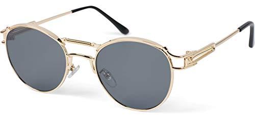 styleBREAKER Damen Panto Sonnenbrille mit ovalen Flachgläsern und Metall Bügel, Federn, Silikon Nasenauflage 09020117, Farbe:Gestell Gold/Glas Grau getönt
