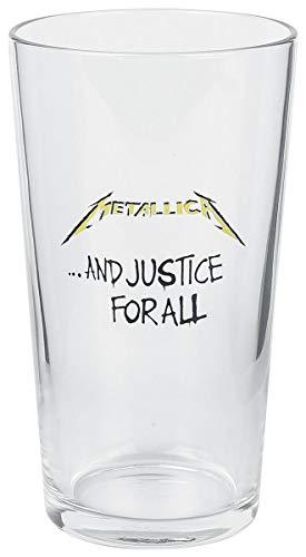 Metallica And Justice For All Unisex Vaso de cerveza transparente, vid
