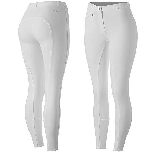 horze Active Reithose Damen, Silikon Grip Vollbesatzreithose für Damen mit Reißverschlusstaschen und elastischem Beinabschluss, Weiß, 38