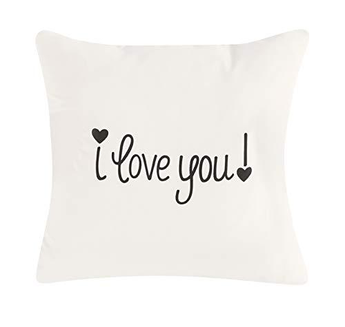 Happy Ideas Funda cojín I Love You. 50x50 cms. Blanco y Negro. algodón y Poliester