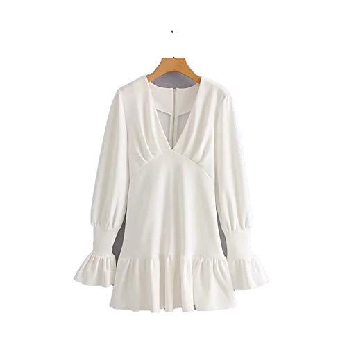DRESSES Zomerjurk 2019 Vintage Diepe V-hals Wit Geplooide Jurk Elegante Koreaanse Lange Mouw Feestjurk Boho Casual Dames - wit - S