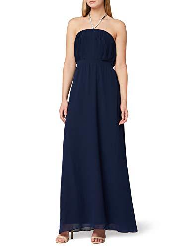 Marca Amazon - Truth & Fable Vestido Dama de Honor Maxi Mujer, Azul (Blue Blue), 34, Label: XXS