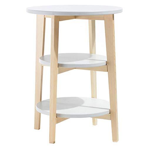 ZQY Legno Solido Piccola Tavola Rotonda Nordic Bianco Piccolo Tavolino Semplice E Moderno Mini Divano Laterale Gabinetto Mensola Comodino