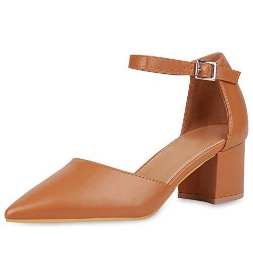 SCARPE VITA Damen Spitze Pumps Klassische Riemchenpumps Mid Heels Blcokabsatz Schuhe Leder-Optik Absatzschuhe 190851 Hellbraun 37
