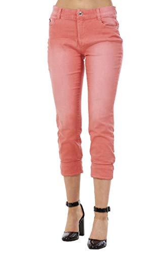 Ex High Street Pantaloni Slim a 3/4 da Donna Elasticizzati - in Cotone - Ideali per l'Estate - Rosa - 38