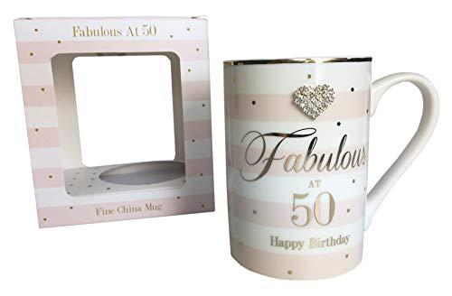 Fabuloso 50th China taza edad feliz cumpleaños diamante en caja regalos mujeres regalos