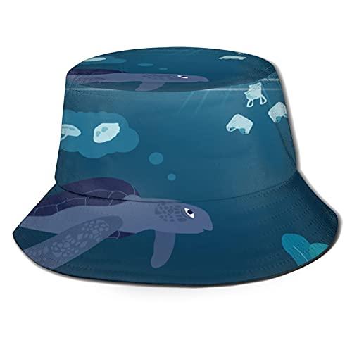 Turtles Unisex Casual Bucket Sun Hat Fisherman Cap for Fishing Hiking Camping