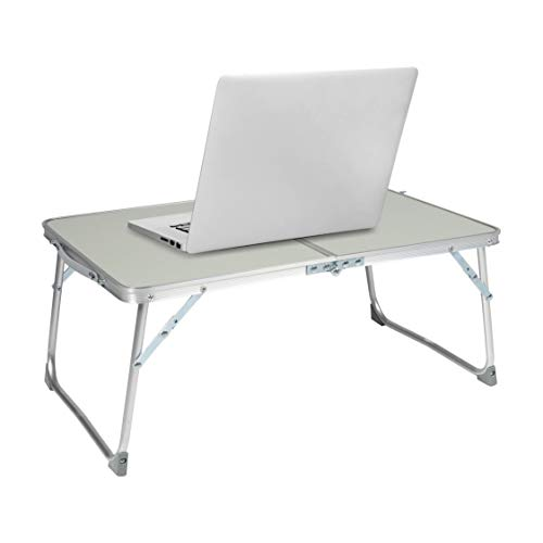 Milliard Aluminum Laptop Foldable Table, Breakfast in Bed Tray, Standing Desk and Couch Desk for Home Office and Travel – Folds in Half with Interior Storage Space Durable.