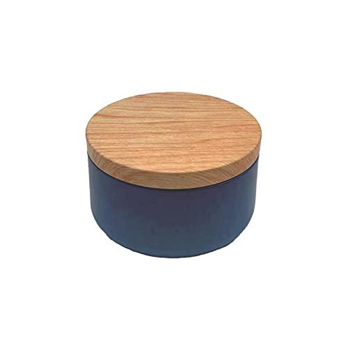 cuiyoush Contenedores de vela, 1 tarro de metal con tapa impresa de grano de madera para hacer velas, manualidades, regalos y más azul