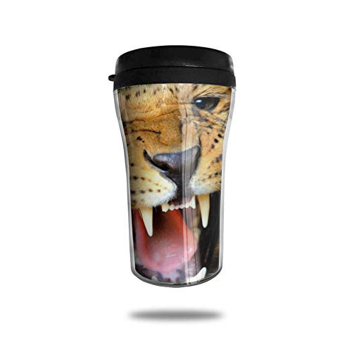 Taza de café de viaje con impresión 3D, taza de té aislada, taza de agua, taza de viaje para hombres, mujeres y niños, leopardo feroz