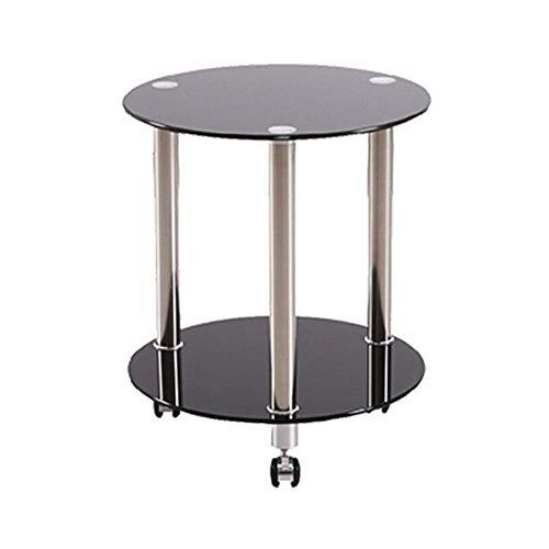 N/Z Living Equipment Table Basse Petit Verre Rond 2 Niveaux avec poulie Canapé Table d'appoint Pieds en Acier Inoxydable avec étagère de Rangement Foe Maison/Salon/Cuisine D45 / 50CM Noir D60xH53cm