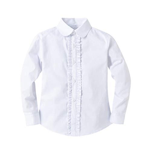 Bienzoe Mädchen Schuluniform Lange Ärmel Weiß Bluse XL