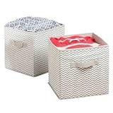 mDesign Caja de almacenamiento - Cubo de almacenamiento Ideal para guardar varios artículos en la casa- Sistema de almacenamiento versátil - Paquete de 2