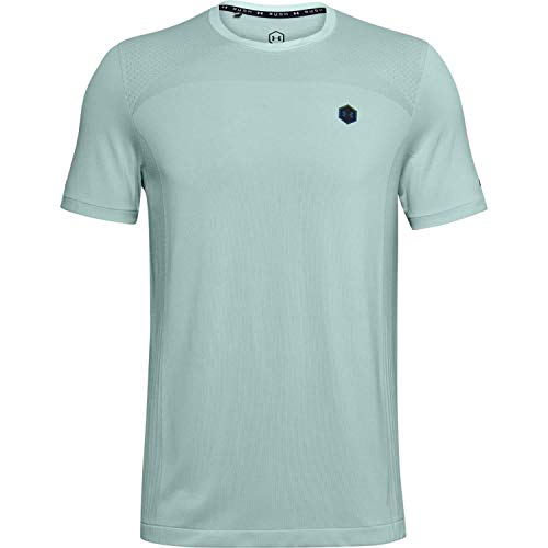 Photo of Under Armour Rush Seamless Fitted SS, Comfortable gym t shirt with energy return, short-sleeved and quick-drying running apparel with UA Rush technology Men, Blue (Enamel Blue / Black), M