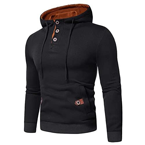 URIBAKY - Camisa de suéter de cuello alto y manga larga para hombre, otoño invierno, color liso, Le Noir, L