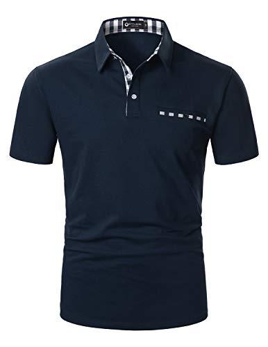 STTLZMC Moda Polo Uomo Manica Corta con Plaid Cotone T-Shirt Tops Tennis,M,Blu 2