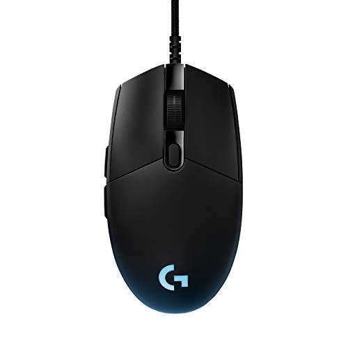 Logitech G PRO Gaming-Maus mit HERO 25K DPI Sensor, USB-Anschluss, RGB-Beleuchtung, 6 programmierbare Tasten, benutzerdefinierte Spielprofile, Ultraleichtgewicht, PC/Mac - Schwarz