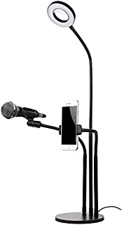 JFtown Selfie Ring Light with Cellphone Stand and Microphone Holder for Live Stream Makeup, 3-Light Mode 10-Level Brightness Adjustment with Lazy Bracket for Bedroom, Office, Kitchen, Bathroom
