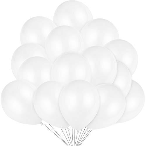 100 Stücke Luftballons Weiß, Latex Weiss Ballons Ø 30 cm für Hochzeit Kindergeburtstag Valentinstag Geburtstag Taufe Kommunion Party Deko