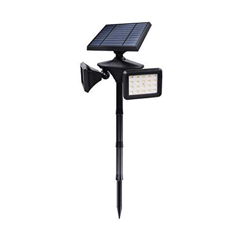 Yacc Focos solares Exterior Inducción de Doble Cabeza Impermeable Luz de Seguridad Luz de Pared Toma de Tierra Patio Lámpara de inundación para Entrada de Patio