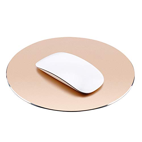 ProElife Premium-Aluminium-Metall-Mauspad/-Matte für Apple, Magic Mouse, Microsoft, Logitech, Tecknet, Razer, Metal Mouse Pad-Round-Gold Colour, Mouse Pad