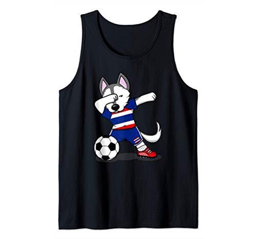 Dabbing Husky Dog Tailandia Fútbol - Bandera tailandesa Camiseta sin Mangas