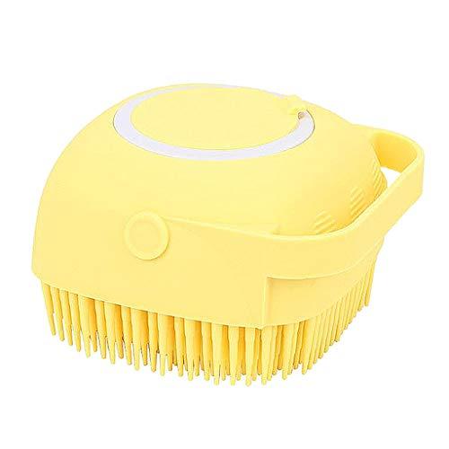 #N/A Silicone Body Scrubber, 2 in 1 Bath, Shampoo Body Lotion Dispenser Brush Silicone Bath Body Brush with Soft Brush Head Skin Exfoliation and Massaging - Yellow