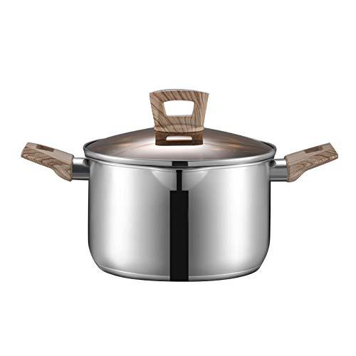 Pentola da zuppa in acciaio inox 304 con doppio manico, 24 cm, pentola in acciaio inox con coperchio in vetro, pentole antiaderenti per fornelli a induzione