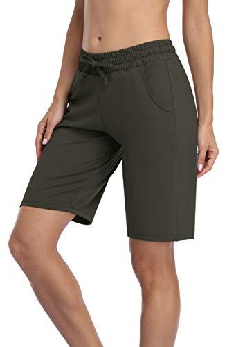 Charmo Damen Trainingsshorts Kurze Sporthose Sweatshorts mit Zwei komfortablen Seitentaschen für Sport und Freizeit Grün XL