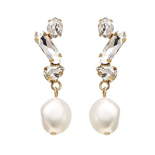 Pendientes con perla y cristal para mujer, color dorado, bonito regalo para mujeres