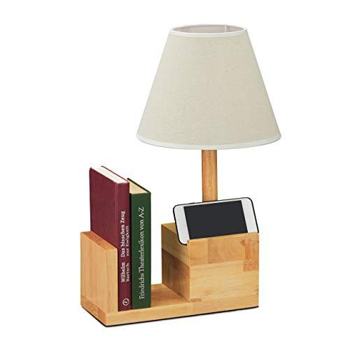Relaxdays Tafellamp hout, stoffen kap, E27-fitting, met boekensteun & telefoonhouder tafellamp woonkamer, natuur/crème, 10032639