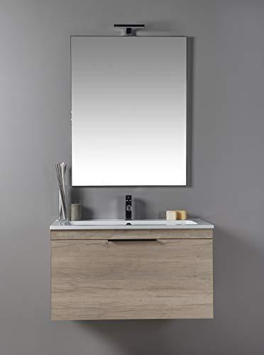 MOBILIA Bagno con LAVABO E SPECCHIERA Corda - Color Legno, Moderno, SOSPESO con cassettone da 70 cm - AM016CR