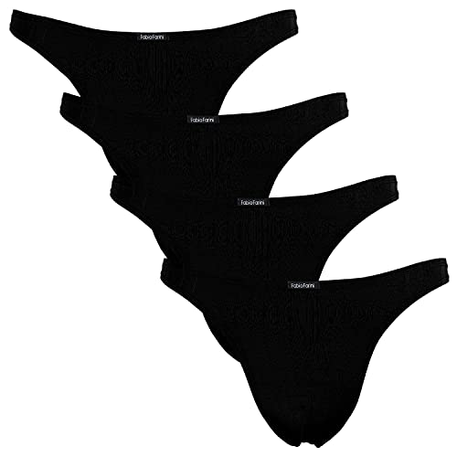 Fabio Farini 4er-Pack maskuline Herren String-Tangas in kräftigem Rot, Nachtschwarz, dunklem Blau oder Weiß - 4X Schwarz XL