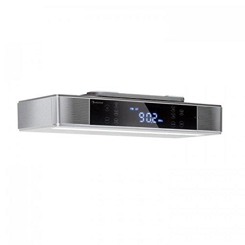 auna KR-140 - Radio de Cocina , Radio bajo Mueble , Bluetooth 4.1 , Manos Libres , Altavoces estéreo , Radio FM-PLL , Reloj con Alarma , Display táctil , Memoria Interna , Timer , Apagado Auto , Gris