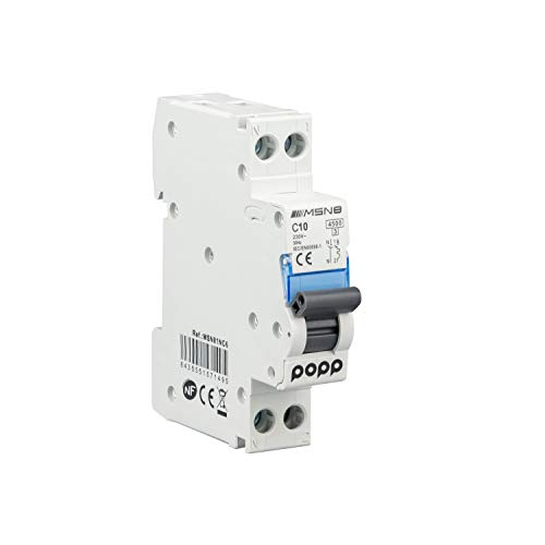 POPP® Interruptor Automático Magnetotérmico industrial CURVA C 1P 2P 3P + 6A 10A 16A 20A 25A 32A 40A 50A 63A (DPN, 10A)