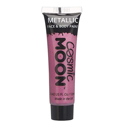 Cosmic Moon - Peinture de maquillage métallique pour le visage et le corps - 12ml - Créez des motifs de maquillage métallique fascinants pour visage! - Inclut: Rose