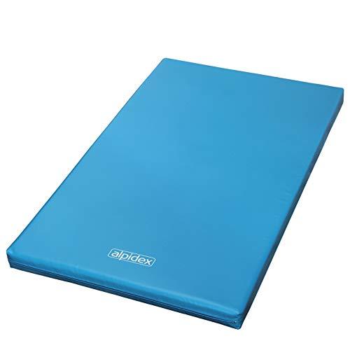 ALPIDEX Matte Turnmatte Sportmatte Gymnastikmatte 200 x 120 x 8 cm mit Antirutschboden RG 20 (sehr weich), Farbe:hellblau