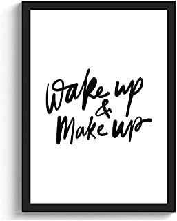 GS DECOR Wake Up & Make Up Wall Art With Plexi Glass 12 × 9 Inches | Aesthetic Pictures Wall Frames For Room Decor With Tr...