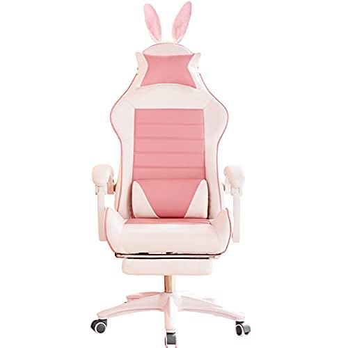 YWJPJ. Sedia da Gioco Sedia da scrivania per Adulti, Sedia da Computer ergonomica Girevole con poggiapiedi, Cuscini lombari reclinabile High Back Sostegno alla Schiena