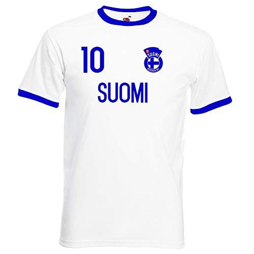 Nation Finnland Ringer T-Shirt Trikot Wappen NO. 10 W-B (M)